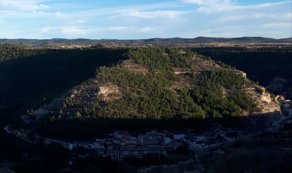 Alcalá del Júcar nestled in the valley below us as we approach