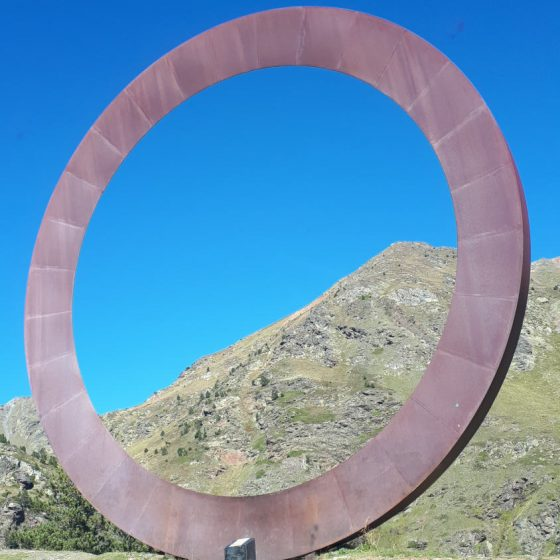 Andorra - giant O sculpture on the road from Ordino