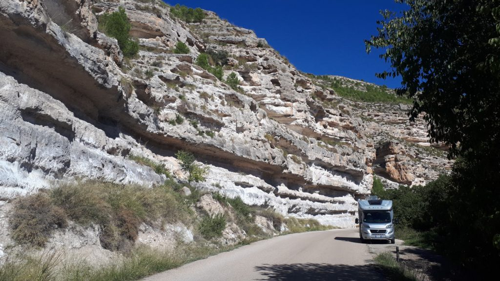 Buzz Laika parked in the Jucar Gorge for a scenic lunch!