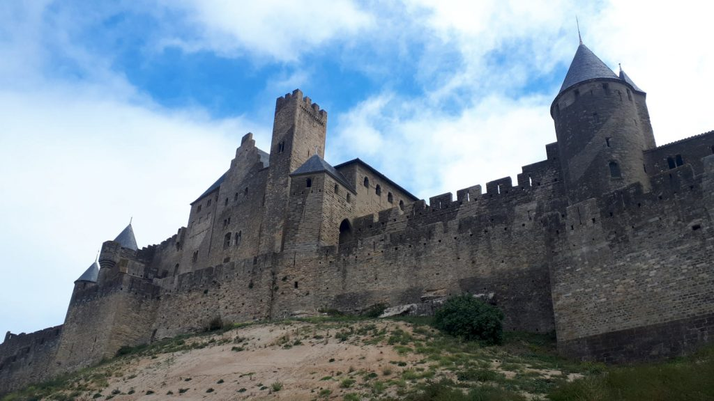 The unmistakable ramparts of the giant Carcassonne fortress