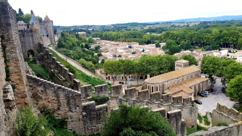 View over the walls to the town of Carcassonne below
