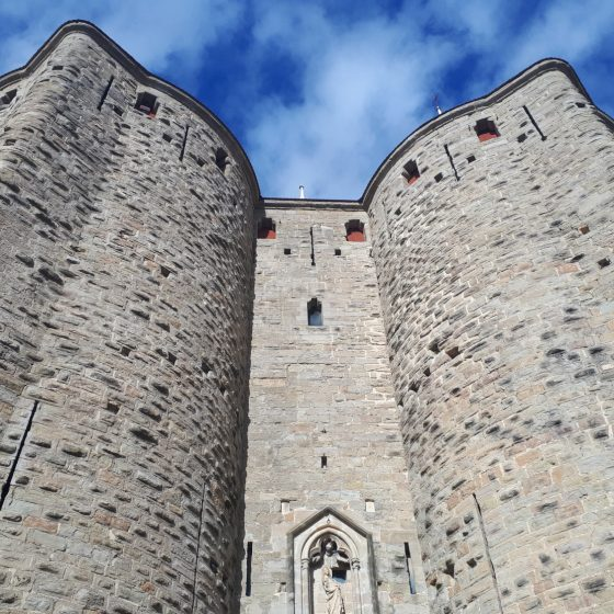 Looking up at the imposing walls of the Cite of Carcassonne