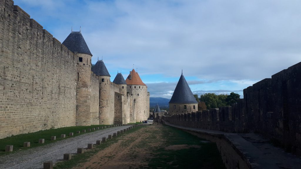 Walking between the outer walls of the Cite of Carcassonne and the inner ramparts