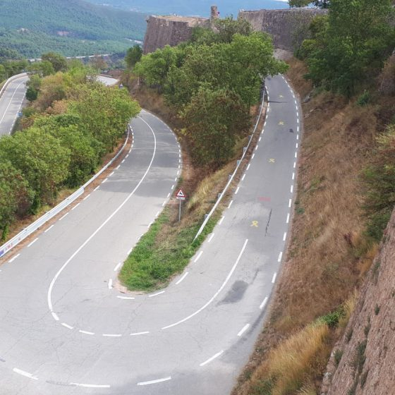 Hairpin roads up to Cardona Castle in Spain