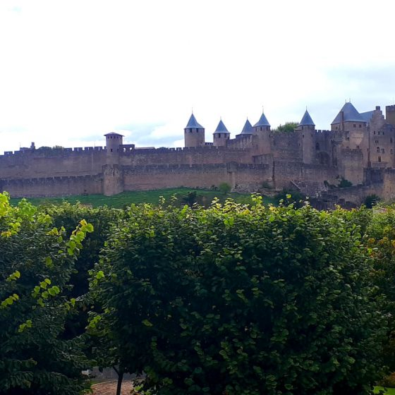 The immense outer walls of Carcassonne Medieval City Fortress