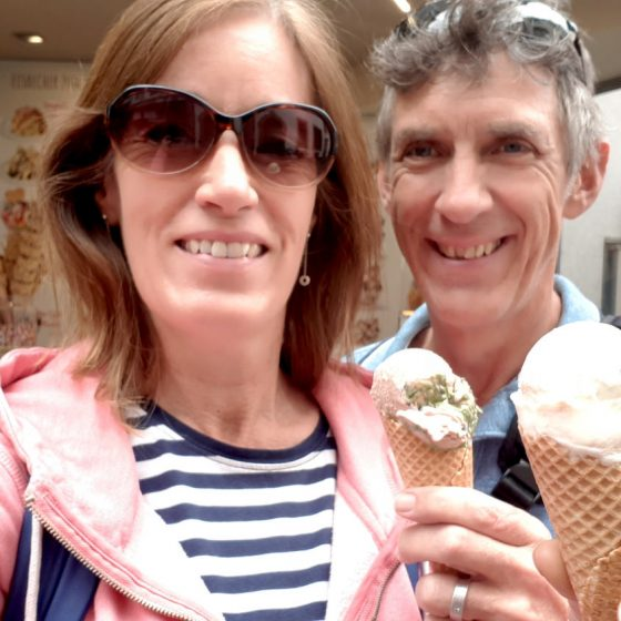 Time for some ice cream, pistachio for him, strawberry cheesecake for her