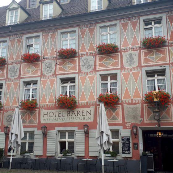 Interesting decoration on this Freiburg hotel