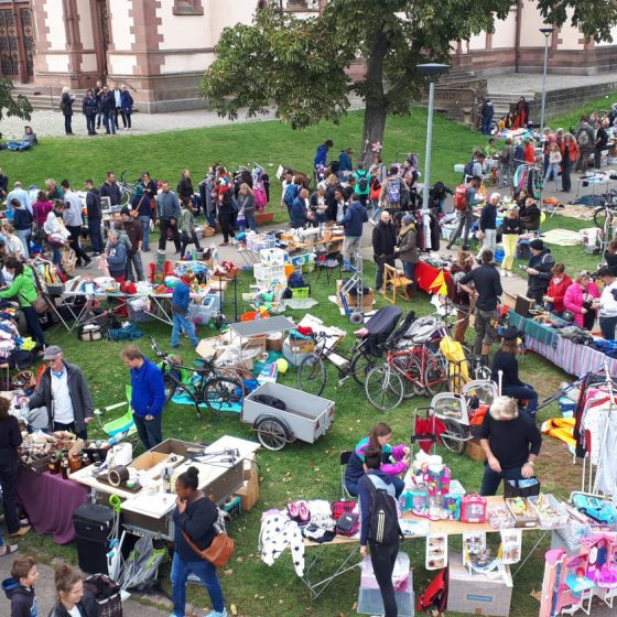 The huge second hand sale on the green by the church