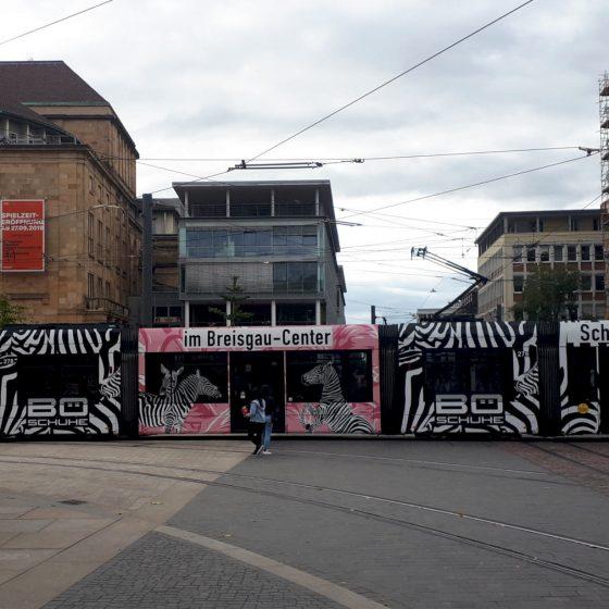 Zebra striped tram in Freiburg