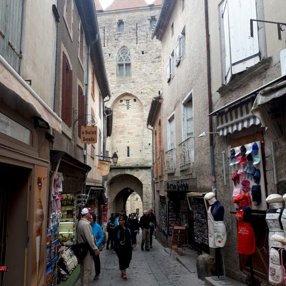 Gift shops as soon as you enter the Cite of Carcassonne