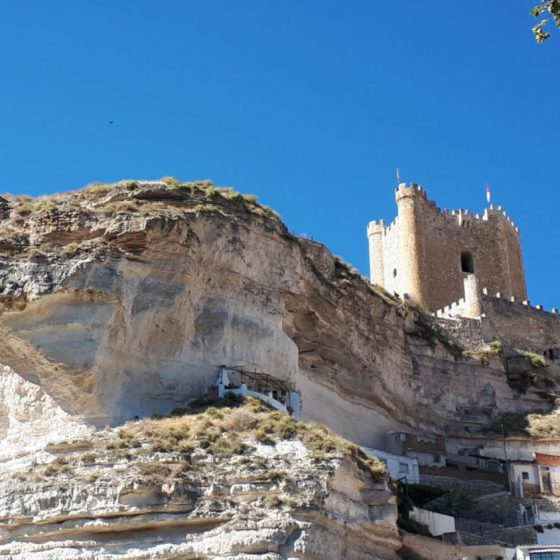 The restored castle perched on the Alcala del Jucar cliff top