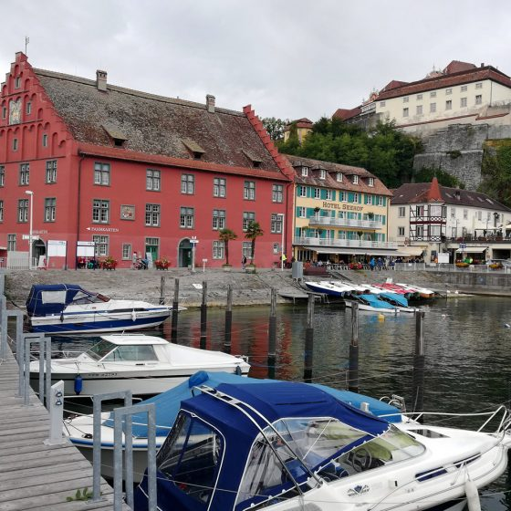 Meersburg harbour and view of uppertown