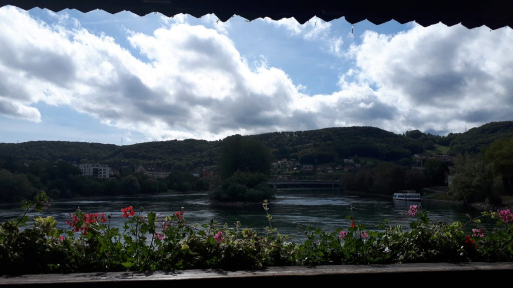 Views across the Rhine from the wooden bridge