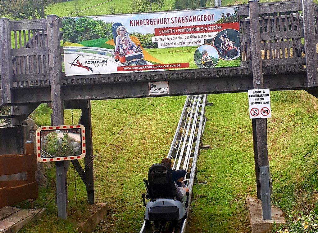 Strapped in and ready to go at the start of the 1500m Rodelbahn track