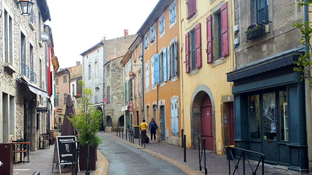 The colourful streets outside the walls of the Cite of Carcassonne