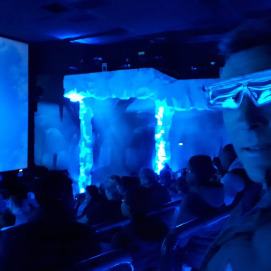 Inside the Ice Age ride where it snowed!