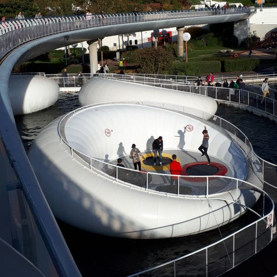 The Aqualympic Stadium floating trampolines on water