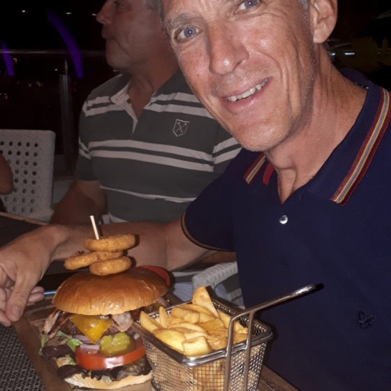 He does love a burger!