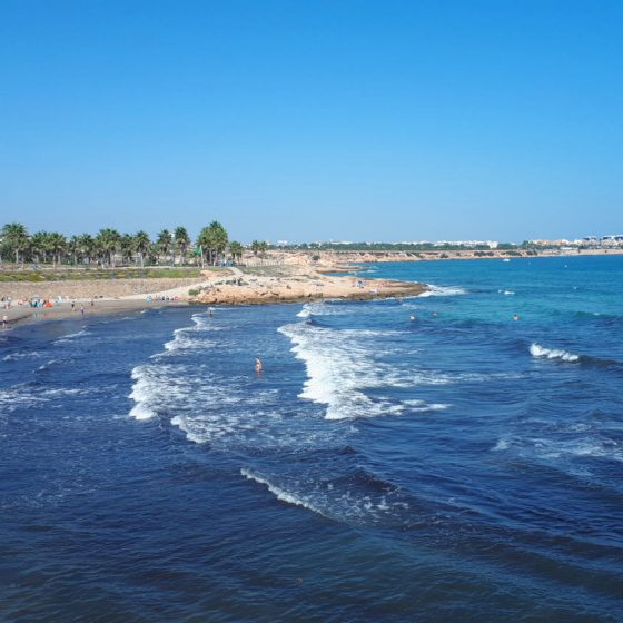 The beach at Playa Flamenca. Still in the high 20s in October.