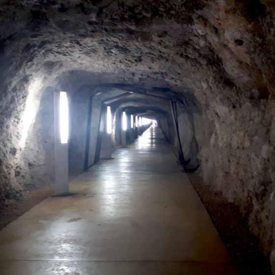 The tunnel running under Denia castle