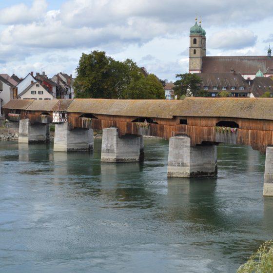 German Swiss border bridge across the Rhine